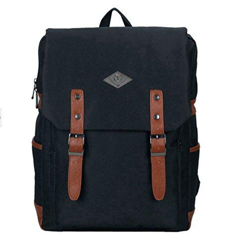Vintage Unisex lona ocasional mochila mochila mochila mochila bolsa de senderismo Negro