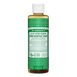 Dr. Bronner Pure-Castile Liquid Soap - Almond, 8 Ounce 72 ALMOND. Warm, comforting and slightly sweet - like marzipan or amaretto! Our Almond Pure-Castile Liquid Soap is concentrated, biodegradable, versatile and effective SMOOTH AND MOISTURIZING. Dr. Bronner's Liquid Pure-Castile Soap offers organic and vegan ingredients for a rich, emollient lather and a moisturizing after feel. It uses organic hemp, olive, and coconut oil to nourish your clean, healthy skin. NATURAL. Smooth and luxurious soap with no synthetic detergents or preservatives, as none of the ingredients or organisms are genetically modified. Use on your hands, face, or hair, or dilute your soap for a multi-use cleaning product.