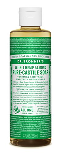 Dr. Bronner's - Pure-Castile Liquid Soap - Made with Organic Oils, 18-in-1 Uses: Face, Body, Hair, Laundry, Pets and Dishes, Concentrated, Vegan, Non-GMO (8 Ounce) 1 MADE WITH ORGANIC OILS and CERTIFIED FAIR TRADE INGREDIENTS: Dr. Bronner's Pure-Castile Liquid Soaps are made with over 90% organic ingredients. Over 70% of ingredients are certified fair trade, meaning ethical working conditions and fair prices. GOOD FOR YOUR BODY and THE PLANET: Dr. Bronner's liquid soaps are fully biodegradable and use all-natural, vegan ingredients that pose no threat to the environment. Our products and ingredients are never tested on animals and are cruelty-free. NO SYNTHETIC PRESERVATIVES, DETERGENTS, OR FOAMING AGENTS: Our liquid soaps are made with plant-based ingredients you can pronounce—no synthetic preservatives, thickeners, or foaming agents—which is good for the environment and great for your skin!