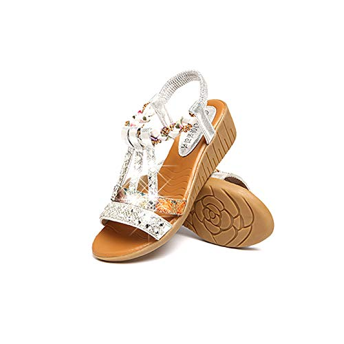 Sasitober Women Boho Sandals Crystal Rhinestone Jewelled Low Heel Platform Sandals Summer Casual Beach Shoes Silver