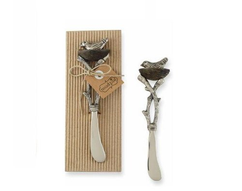 Mud Pie 4031004 ''Bird Icon'' Metal and Wood Spreader, Silver