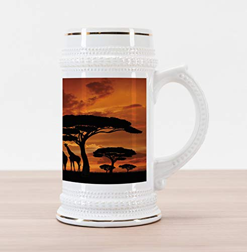 Africa Mug - Lunarable Africa Beer Stein Mug, Safari Animal with Giraffe Crew with Majestic Tree at Sunrise in Kenya, Traditional Style Decorative Printed Ceramic Large Beer Mug Stein, Burnt Orange and Black