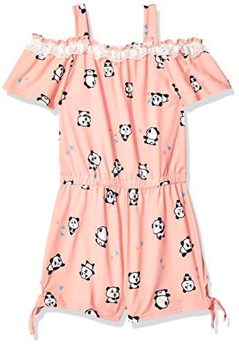 Knit Panda - One Step Up Girls' Big Soft Knit Romper, Panda Peach, 10/12