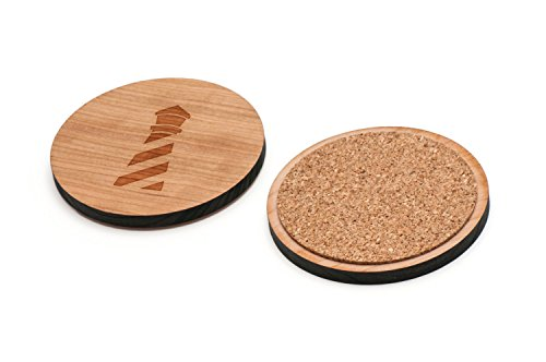 WOODEN ACCESSORIES CO Wooden Coaster Set With Laser Engraved Lighthouse Design - Set of 4 Laser Cut Coasters - Cherry Wood Round Wooden Coasters - Made In The USA ()