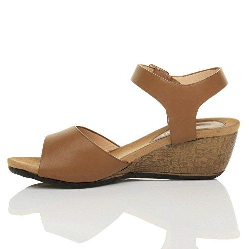 Damen Mittlere Keilabsatz Peep Toe Schuhe Knöchel-/Fesselriemen Schnalle Bequem Fußbett Plateausandale Größe Hellbraun