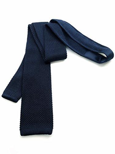 Knit Silk 100% - 100% Silk Knit Tie - Midnight Blue Knit Necktie