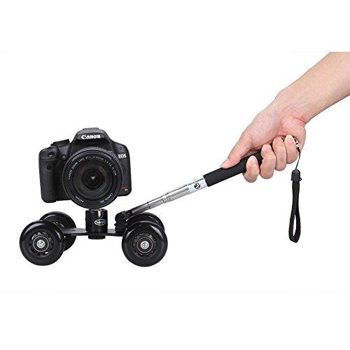 Koolertron - Soporte con ruedas + 360 ° Trípode Rotula Joby Pro + Handheld Monopod para DSLR Canon Nikon para cámaras réflex, videocámaras y cámaras de ...