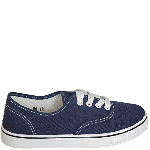 fifteen - Zapatos de cordones de Material Sintético para mujer Blanco blanco Blanco - azul (marino)