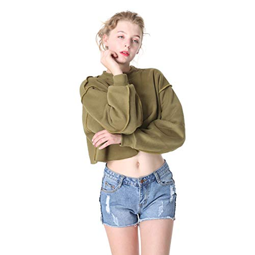 Amazon.com: FLAMINGO_STORE Sweatshirts for Women Velvet Fleece Plain Seam Crop Hoodie Female Crop Sweatshirt: Clothing