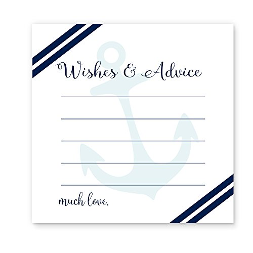 Nautical Wishes & Advice Cards Baby Shower or Wedding Navy (Baby Shower Beach Theme)