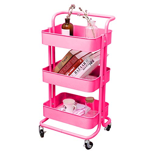 - 3-Tier Metal Mesh Storage Utility Cart with Brake Caster Wheels, Rolling Cart with Removable Handle, Pink
