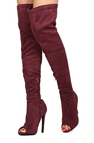 Wild Diva Women Over The Knee Thigh High Heels Stiletto Open Peep Toe Boots Back Elastic Lace up CARMELA-16 Burgundy Red Suede 5.5