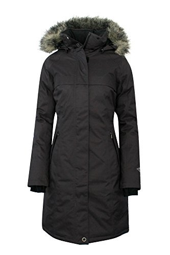 COLUMBIA Women's Flurry Run Down Long Omni Heat Jacket Coat Hooded Parka (M) black