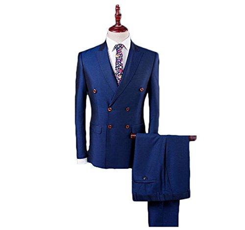 AK Beauty Men's 3 Piece Double Breasted Wedding Formal Suit (Jacket+Pants+Vest) (S, Blue)