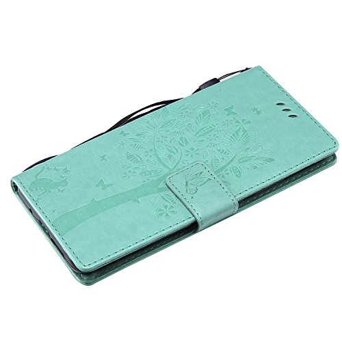 Funda Huawei Mate 10 Pro, SsHhUu Funda PU Piel Genuino [Ranuras para Tarjetas] [Cierre Magnetico] con Lápiz óptico + Acollador para Huawei Mate 10 Pro / L09 / L29 (6.0) Rose Verde