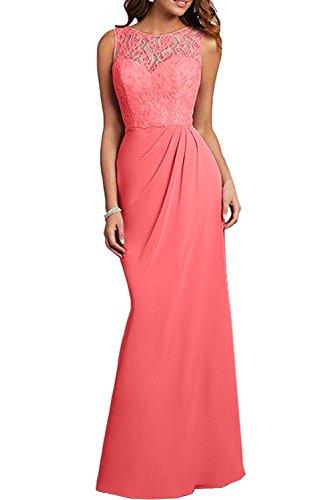 Wassermelon Abendkleider Spitze Damen Festlichkleider Chiffon Etuikleider Flieder Brautmutterkleider Charmant Bodenlang PzpxTnPw