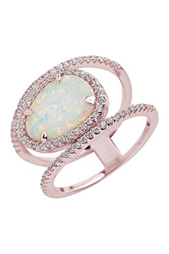 Sterling Forever - Sterling Silver Created Opal Oval CZ Ring (in Various Plating) (Rose-Gold-and-Sterling-Silver, -