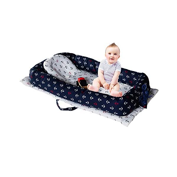 Brandream Baby Nest Bed, Baby Bassinet for Bed, Newborn Infant Co-Sleeping Portable Cribs & Cradles Lounger Cushion, White Navy Anchor Printed, 100% Breathable Cotton