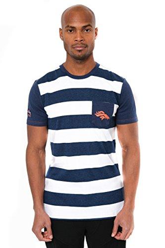 NFL Men's Denver Broncos T-Shirt Stripe Pocket Short Sleeve Tee Shirt, Large, - Denver Men For