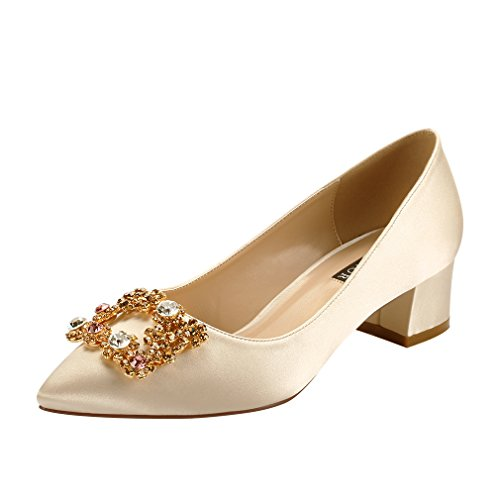 (ERIJUNOR E2233 Women Comfort Low Heel Closed Toe Rhinestone Wedding Evening Satin Shoes for Wide Foot Fit Champagne Size 8)