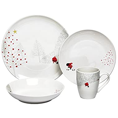 Melange 32 Piece Santa Comes Home Christmas Coupe Porcelain Place Setting Serving for 8 Dinnerware, White