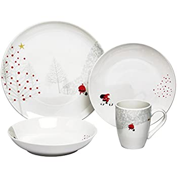 Melange 16 Piece Santa Comes Home Christmas Coupe Porcelain Place Setting Serving for 4 Dinnerware  sc 1 st  Amazon.com & Amazon.com: Melange 16 Piece Santa Comes Home Christmas Coupe ...