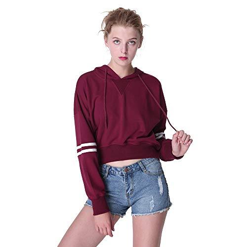 Hoodie Colori Corto Belly shirt Lunghe Immagine Moda Donna T Perde Damengxiang Di Colore Felpa Shirt Maniche Con Cappuccio Button Stile A Abbassarsi Nuovo Striscia xSYYUqw7