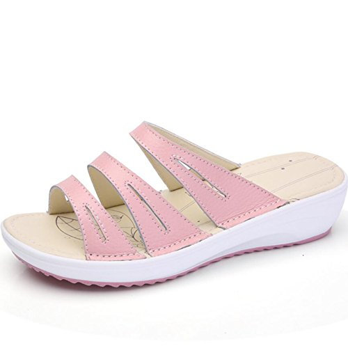 Sandalia 5 4 Tingting Colores Rosa Chancletas Disponibles Slope Shape Zapatillas Leaf Pattern Tamaños Hueca Wave Line Sole Sandalias Pw5Hq