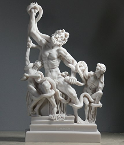 Laocoön and His Sons Group Serpents Museum Alabaster Statue Sculpture 11΄΄ (White Statue Alabaster)