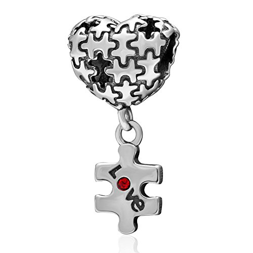 rm Puzzle Charm 925 Sterling Silver Red Heart Charm Love Charm for Pandora Bracelet ()