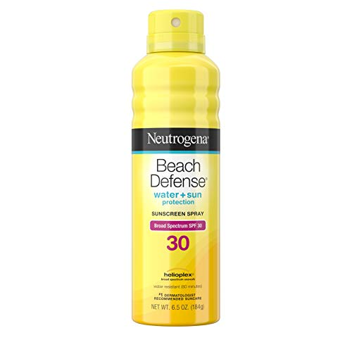 (Neutrogena Beach Defense Body Spray Sunscreen with Broad Spectrum SPF 30, Water-Resistant and Oil-Free Sun Protection, 6.5 oz)