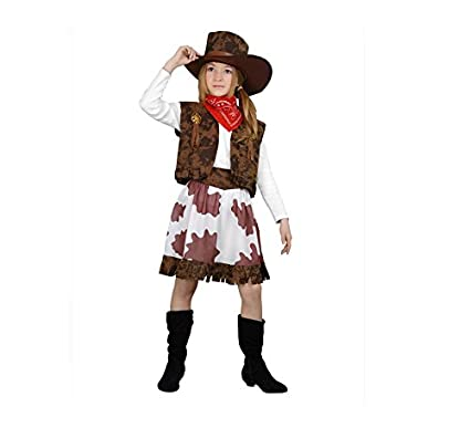 Disfraz de Vaquera marrón y blanco en varias tallas para niña ...