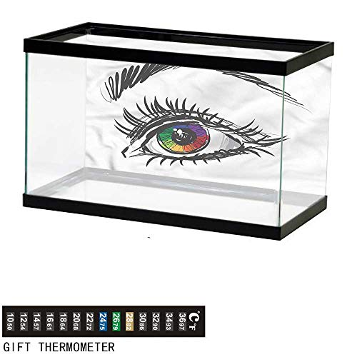 (bybyhome Fish Tank Backdrop Eye,Colorful Pupil of a Woman,Aquarium Background,36