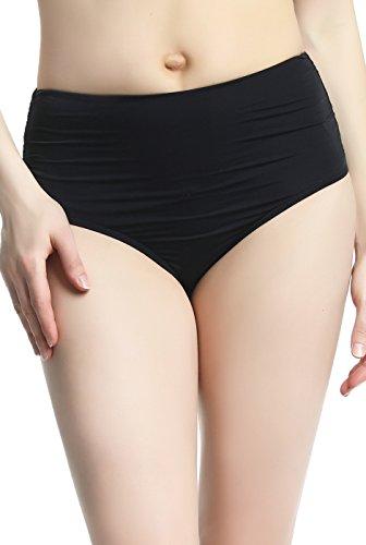 (phistic Women's UPF 50+ Full Coverage High Waist Swim Shorts Briefs,Black,6)