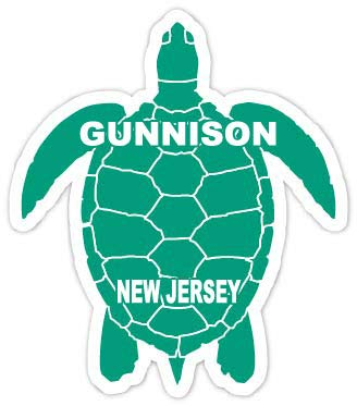 R and R Imports Gunnison New Jersey Souvenir 4 Inch Green Turtle Shape Decal Sticke
