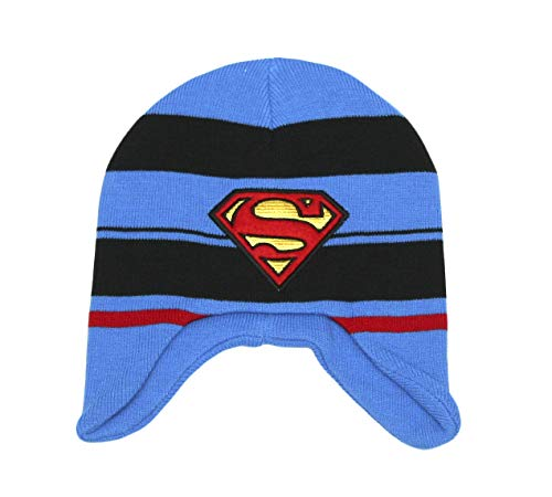 Superman Embroidered Beanie - ABG Accessories Superman Boys Winter Beanie Hat (Striped Blue, Large)
