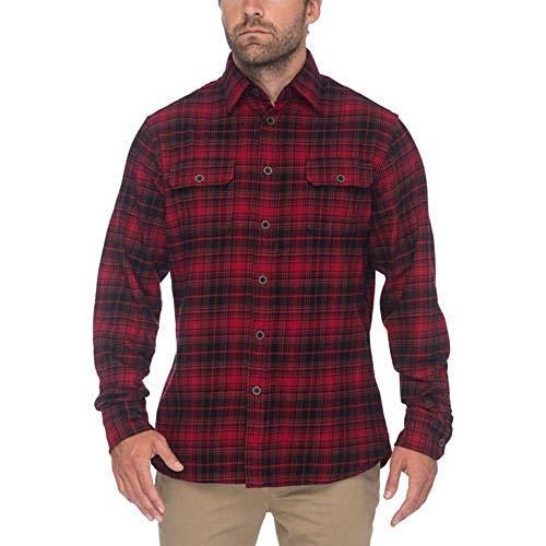 Jachs Men's Brawny Flannel Shirt (Red/Black, Medium) ()