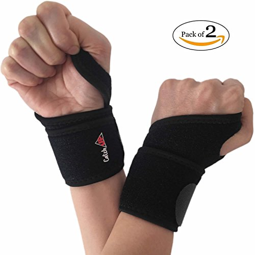 Wrist Brace Support Neoprene Wraps - 2 Pack for Women and Men Adjustable for Right and Left hand with Thumb Stabilizer for Yoga, Carpal Tunnel, Tendonitis, Gymnastics, Bowling, Weightlifting, Typing
