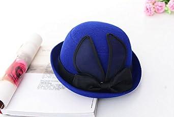 Freedi Bowler Hat Fedora Hats Dress Up Derby Hats Wide Brim Rabbit Ear Bow for Costume Adults Women Winter