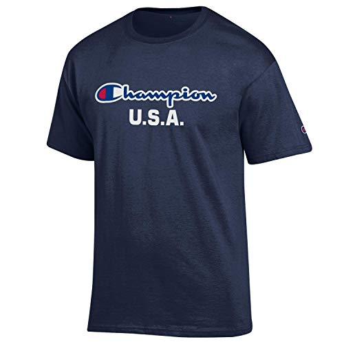 (Champion Men's USA/Military Collection-Air Force, Army, Marines-Cotton T-Shirt (X-Large, USA/Navy Script Over U.S.A.))