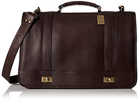 Claire Chase Leather Messenger Briefcase, Cafe, One Size - Claire Chase Leather Messenger