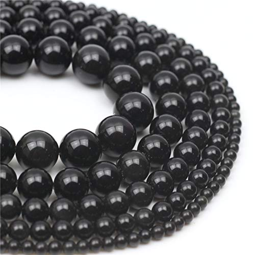 Oameusa 12mm Black Obsidian Stone Natural Round Smooth Beads Gemstone Beads Loose Beads Agate Beads for Jewelry Making 15
