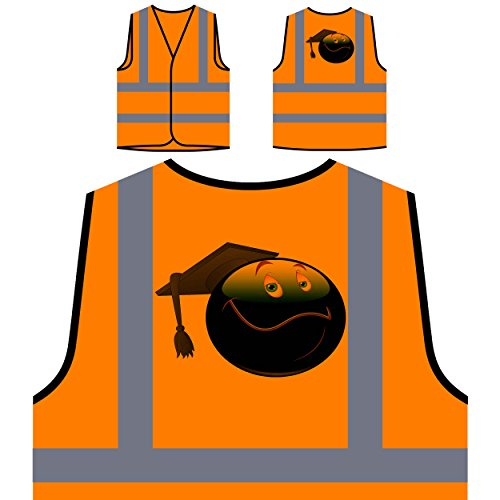 Smiley Graduate Face Novelty Funny Vintage Art Personalized Hi Visibility Orange Safety Jacket Vest Waistcoat a242vo