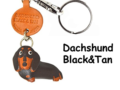 Leather Dog Key Ring - Dachshund short hair Black&Tan Leather Dog Small Keychain VANCA CRAFT-Collectible Keyring Charm Pendant Made in Japan