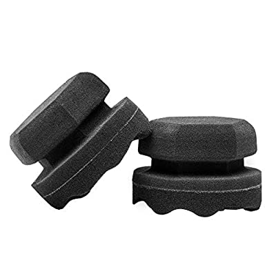 Tire Dressing Shine Applicator, Round Grip Deeper Wave Design to Reach Trim Makes Detailing Tires Easier - Durable, Washable, and Reusable(Pack of 4: Automotive