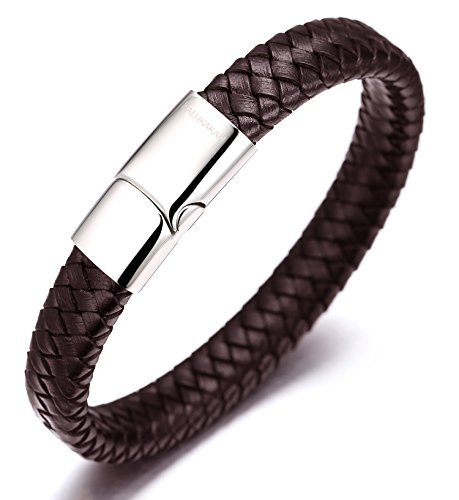 Halukakah 'SOLO' Men's Genuine Leather Bracelet Classic Style Titanium...