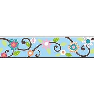 RoomMates - Cenefa decorativa autoadhesiva para pared, diseño floral, color azul