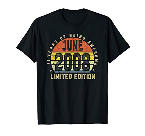- Born June 2008 Limited Edition T-Shirt 11th Birthday Gifts