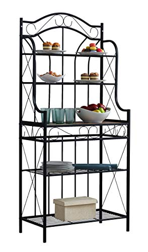 Kings Brand Furniture – Black Metal/Faux Stone 5-Tier Kitchen Storage Bakers Rack by Kings Brand Furniture (Image #3)