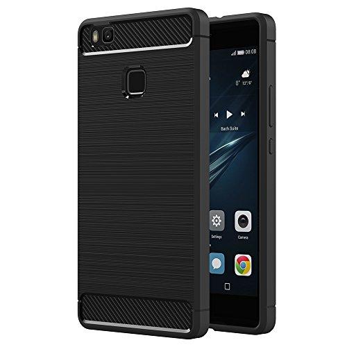 Funda Huawei P9 Lite, AICEK Huawei P9 Lite Funda Negro Gel de Silicona P9 Lite Carcasa Fibra de Carbono Funda para P9 Lite 5,2 Pulgadas Negro